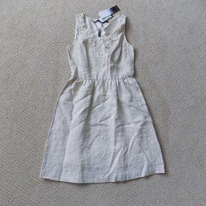 KENSIE FLORAL BEIGE LINEN COMBO SUMMER DRESS
